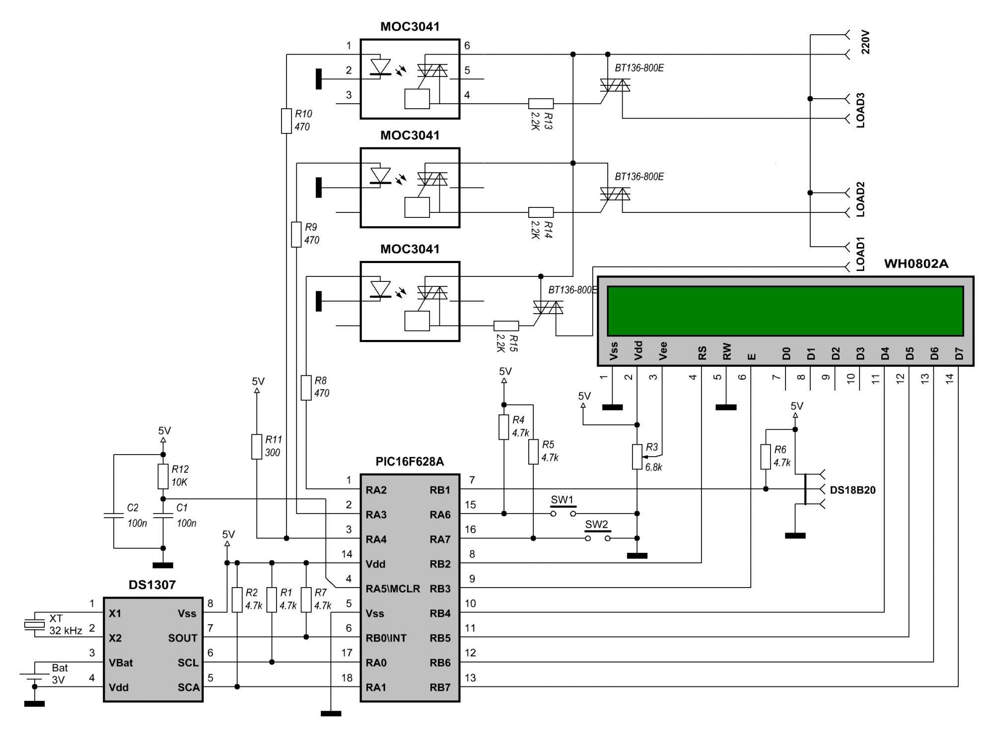 Как работает схема на микроконтроллере 51