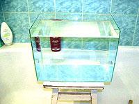 Первое испытание водой склеенного аквариума